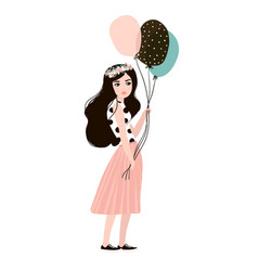 Stylish woman in fashion clothes with balloons vector