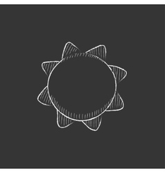 Sun drawn in chalk icon vector