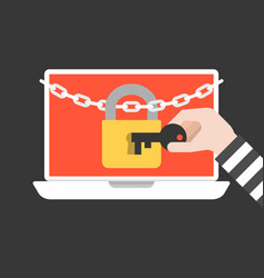 thief hand holding key to open lock and chain vector image vector image