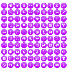 100 sport icons set purple vector image