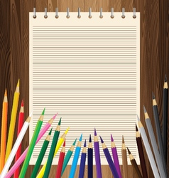 Colorful pencil with yellow paper on lath boards vector