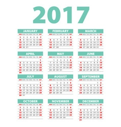 2017 calendar - template of 2017 calendar blue vector