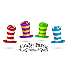 Crazy party colorful striped carnival hats vector