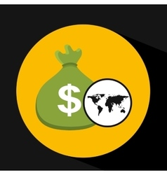 Global business bag money concept icon vector