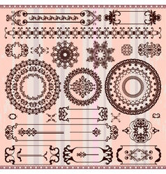collection of vintage floral pattern elements vector image