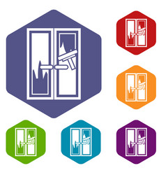 window cleaning icons set vector image