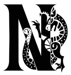 Capital letter n with gargoyle vector
