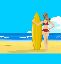 young woman with surfboard looking into distance vector image