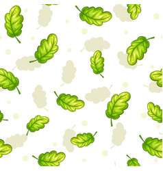 Seamless pattern with falling green oak leaves vector