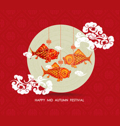 Chinese carp lantern colorful happy mid autumn vector