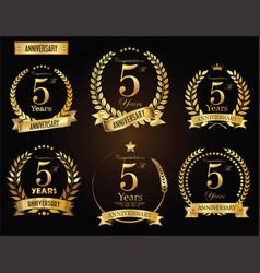 anniversary golden laurel wreath 5 years vector image