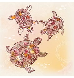 Background with turtle vector image