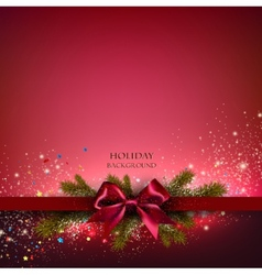 Christmas background with red bow and fir twigs vector