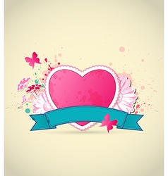Decorative background with pink heart vector image