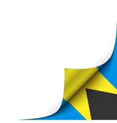 Curled up paper corner on bahamian flag background vector