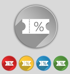 Ticket discount icon sign symbol on five flat vector