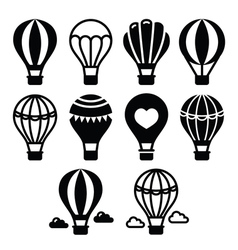 Hot air balloon and clouds icons set vector image