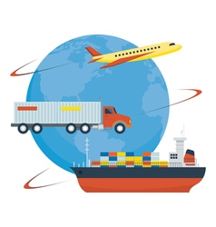 Airplane truck ship worldwide shipping delivery vector