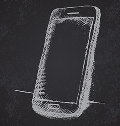 Handdrawn sketch of mobile phone with shadow on vector