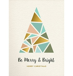 Merry christmas tree triangle gold vintage card vector image