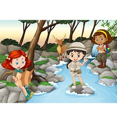 Three girls camping out by the river vector image