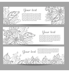 Three banners with beautiful monochrome vector