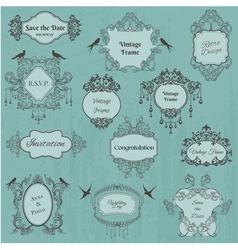 Vintage frames and design elements vector