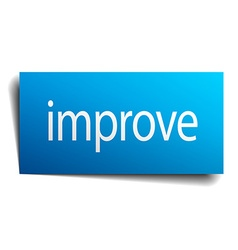 Improve blue paper sign on white background vector
