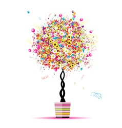 Happy holiday funny tree with balloons in pot for vector image