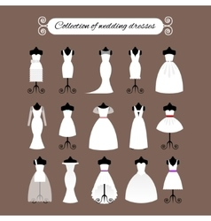 Collection of white wedding dresses vector