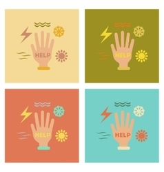 Assembly flat icons nature hand disasters vector
