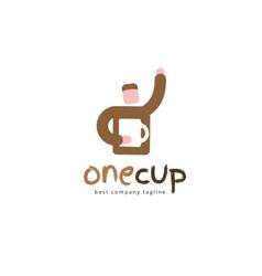 Abstract coffee man logo icon concept logotype vector