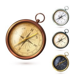 Antique compass set vector image vector image