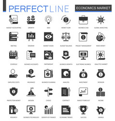 black classic economics market web icons set vector image vector image