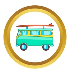 Bus with surfboard icon vector image