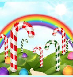 Candy garden background with rainbow vector