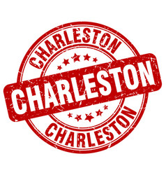 Charleston red grunge round vintage rubber stamp vector