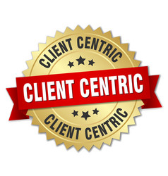 client centric round isolated gold badge vector image vector image