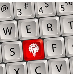 computer keyboard with light key vector image vector image