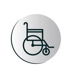 Degraded circular button with wheelchair vector