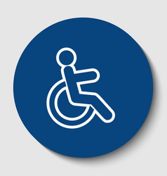 disabled sign white contour vector image vector image