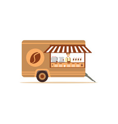 Flat street food cart with coffee vector