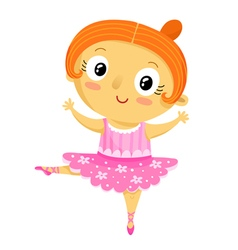 Girl ballerina cartoon character isolated on white vector