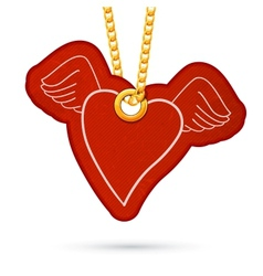 Heart with wings label tag hanging on golden chain vector