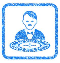 Hitler roulette croupier framed grunge icon vector