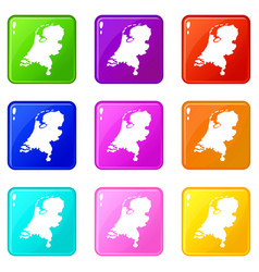 Holland map icons 9 set vector