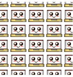 Kawaii cute tender laptop technology background vector