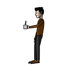 man character standing holding coffee cup break vector image