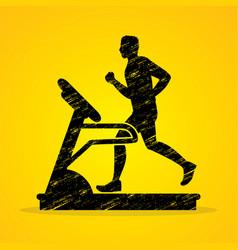 man running on treadmill graphic vector image vector image