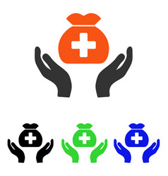 medical fund care hands flat icon vector image